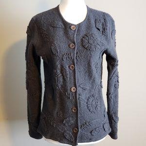 Talbots 100% wool cardigan,  dark gray,  Medium